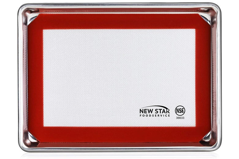 Sheet pan with silicone baking mat