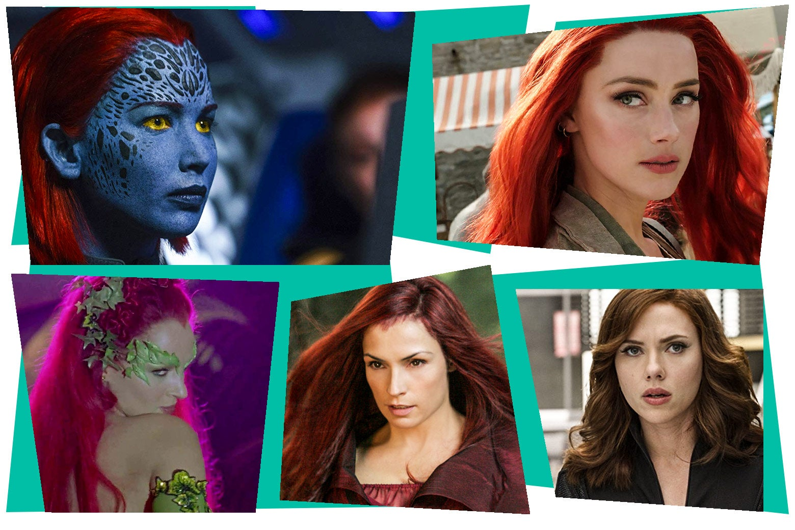 Famke Janssen as Jean Grey, Jennifer Lawrence as Mystique in the X-Men movies, Amber Heard as Mera in Aquaman, Uma Thurman as Poison Ivy in Batman and Robin, and Scarlett Johansson as Black Widow.