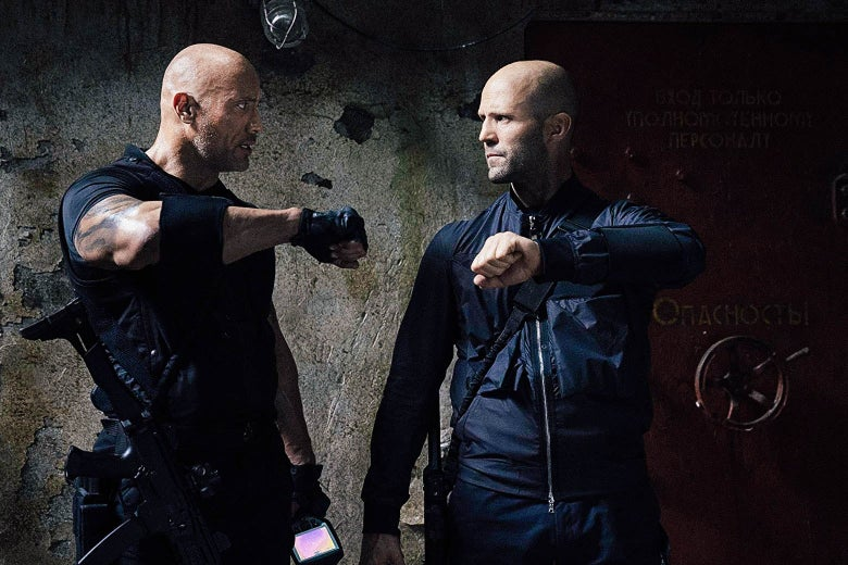 The Rock and Jason Statham in Hobbs & Shaw.