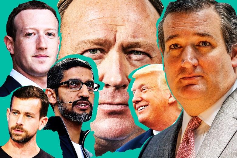 Jack Dorsey, Sundar Pichai, Mark Zuckerberg, Alex Jones, Donald Trump, Ted Cruz.