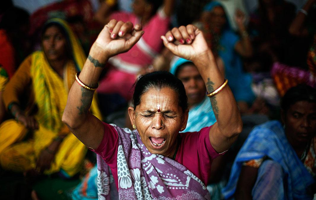 Victims of the Bhopal, India, gas tragedy, a gas leak from a Union Carbide pesticide plant that killed at least 3,500 people, shout slogans during a sit-in protest in New Delhi on Nov. 10, 2014. Hundreds of the victims held a sit-in protest and five survivors of the tragedy started an indefinite hunger strike demanding additional compensation for all the affected people and revision of figures of death caused by the disaster 30 years ago, according to a media release.