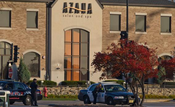 Police outside the Azana Salon and Spa where three people were killed in a mass shooting on Sunday in Brookfield, Wisconsin.
