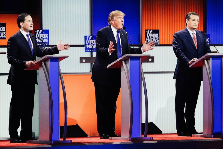 Marco Rubio, Donald Trump, and Ted Cruz participate in a debate sponsored by Fox News at the Fox Theatre on March 3, 2016, in Detroit.