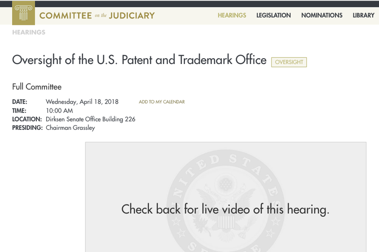 Hearing title: Oversight of the U.S. patent and trademark office.