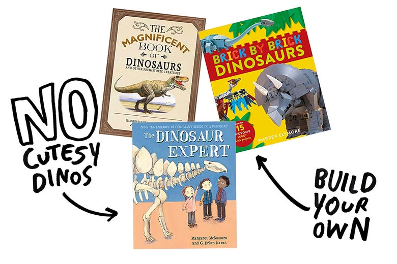 "Arrows pointing away from The Dinosaur Expert (""No Cutesy Dinos"") and Brick by Brick Dinosaurs (""Build Your Own"")"