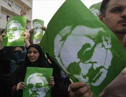 Iranian supporters of Mir Hossein Mousavi. Click image to expand.
