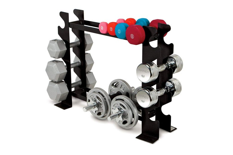 A dumbbell rack.