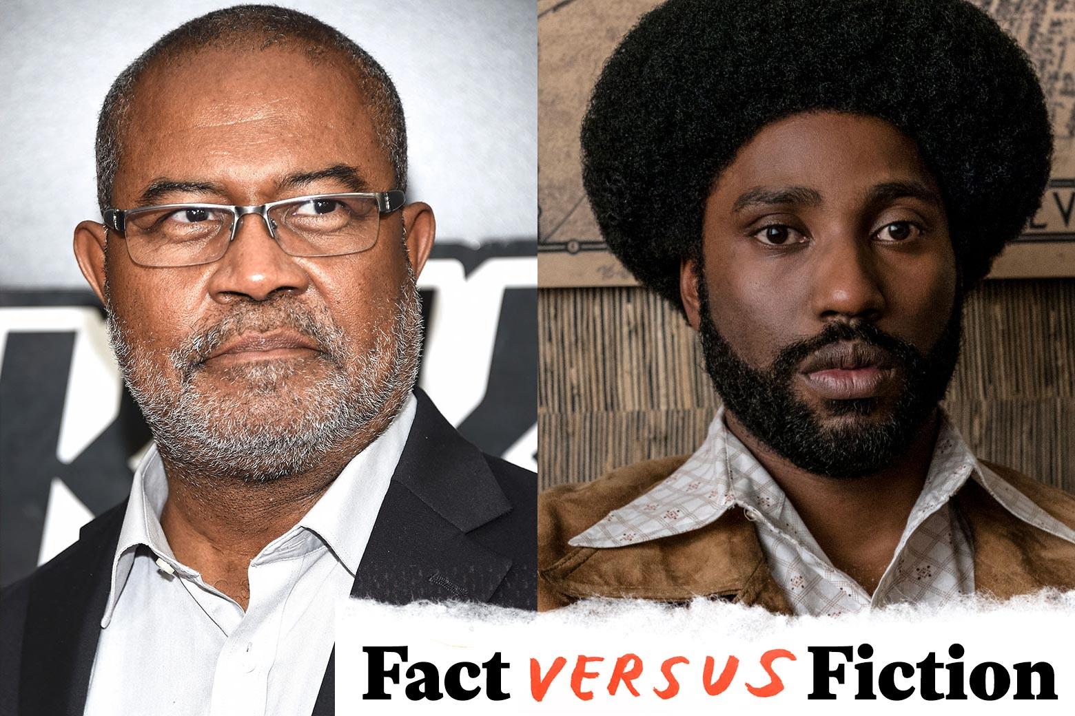Ron Stallworth in 2018, and John David Washington as Ron Stallworth in BlacKkKlansman.