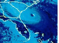 Last light visible image of Hurricane Hugo. Click image to expand.