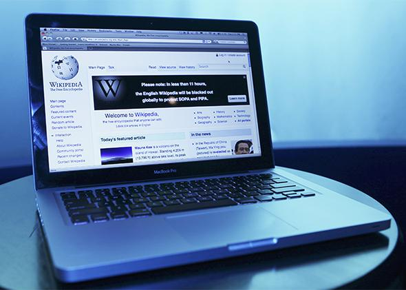 Wikipedia blacked out its English-language site for a day in protest against proposed U.S. anti-piracy legislation.SOPA/WIKIPEDIA