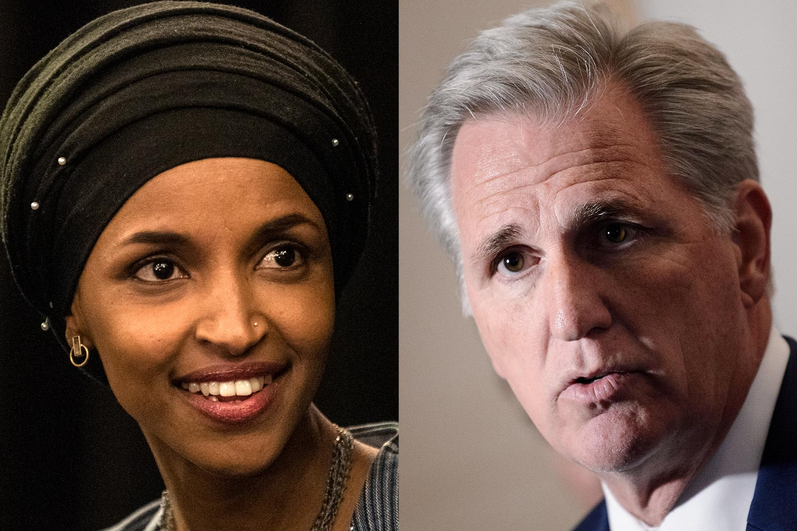 Minnesota Rep. Ilhan Omar and House Minority Leader Kevin McCarthy.