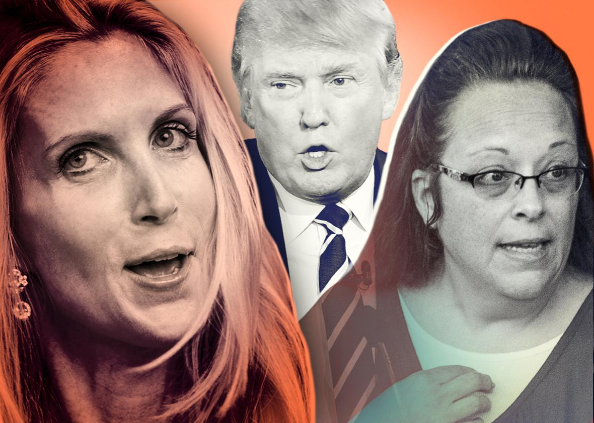 Ann Coulter, Donald Trump, and Kim Davis.
