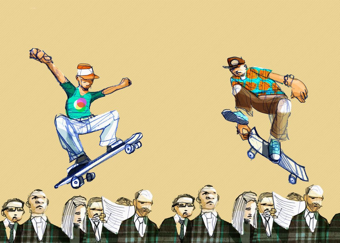 Two young people skateboarding over the heads of older people wearing suits.