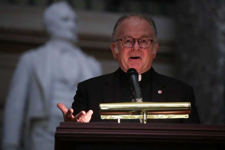 Father Patrick Conroy speaking in the Capitol in 2017.