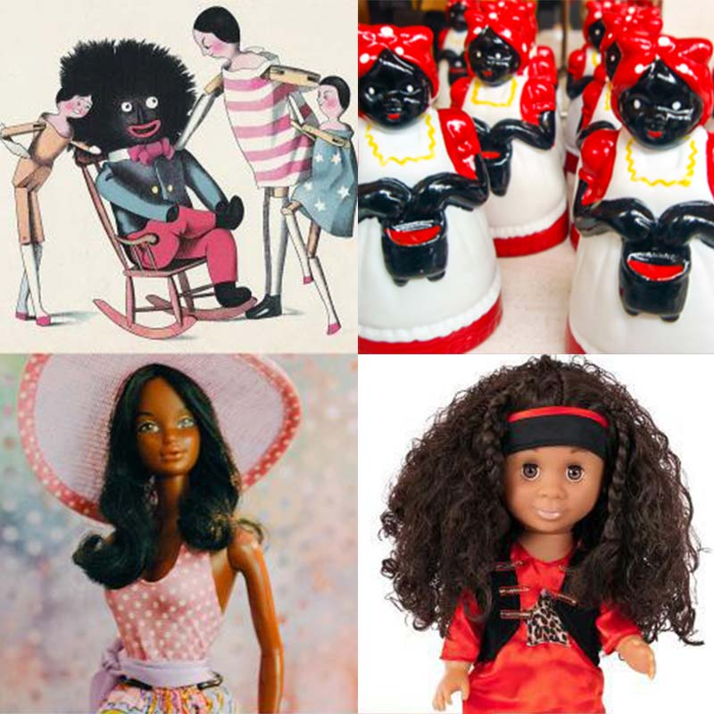 "The Golliwogg in Florence Kate Upton's 1895 ""The Adventures of Two Dutch Dolls and a Golliwogg,"" 'Mammy Doll' ceramic souvenirs, Malibu Christie from the 1980s, and a Classic Kenya Doll."