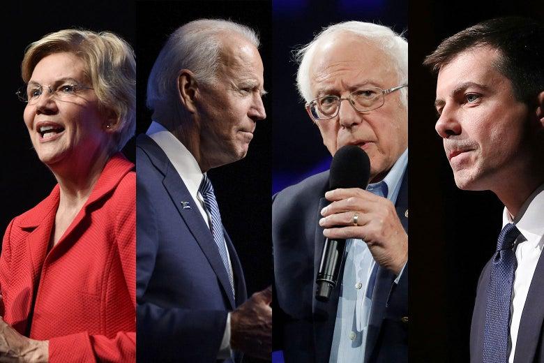 Democratic presidential candidates Elizabeth Warren, Joe Biden, Bernie Sanders, Pete Buttigieg.