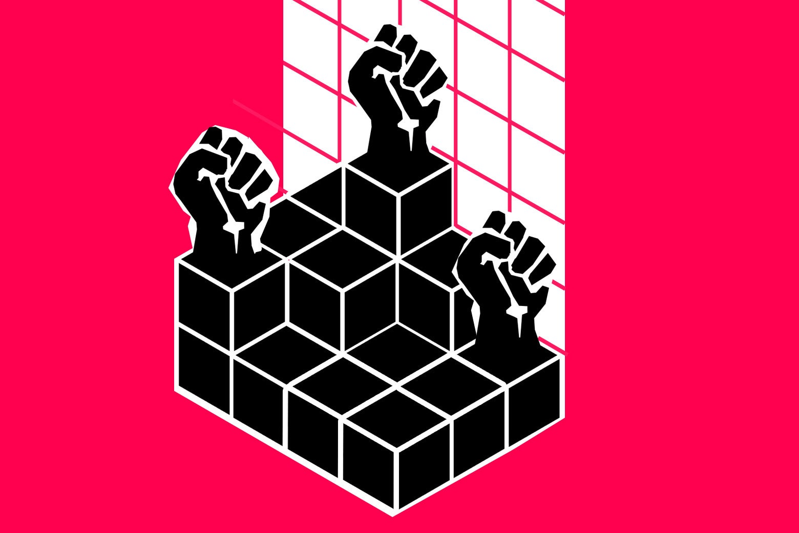 Illustration by Slate.  Illustration of fists raised in solidarity atop a graph of data to combat racism.