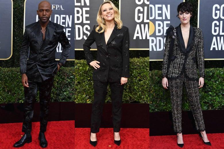 Karamo Brown, Kate McKinnon, and Phoebe Waller-Bridge pose on the 2020 Golden Globes red carpet.