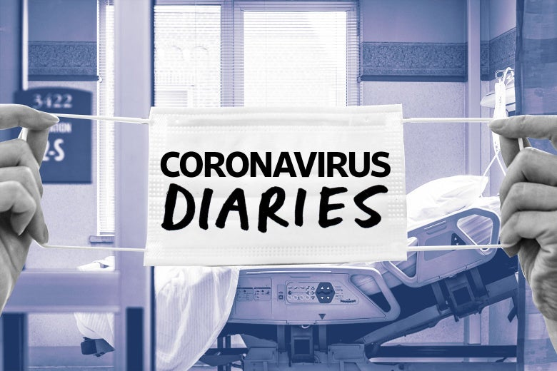 "A mask that says ""coronavirus diaries"" overlaid on an image of an empty hospital room."