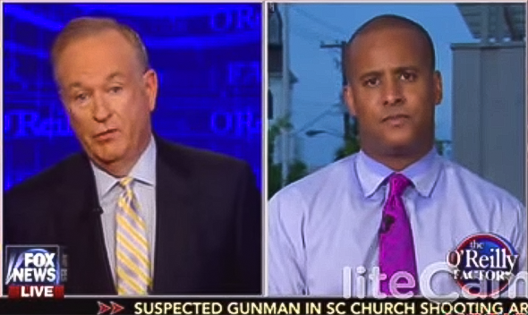 "Bill O'Reilly, left, and Charleston lawmaker Todd Rutherford, a friend of Pastor Clementa Pinckney, on ""The O'Reilly Factor,"" June 18, 2015."