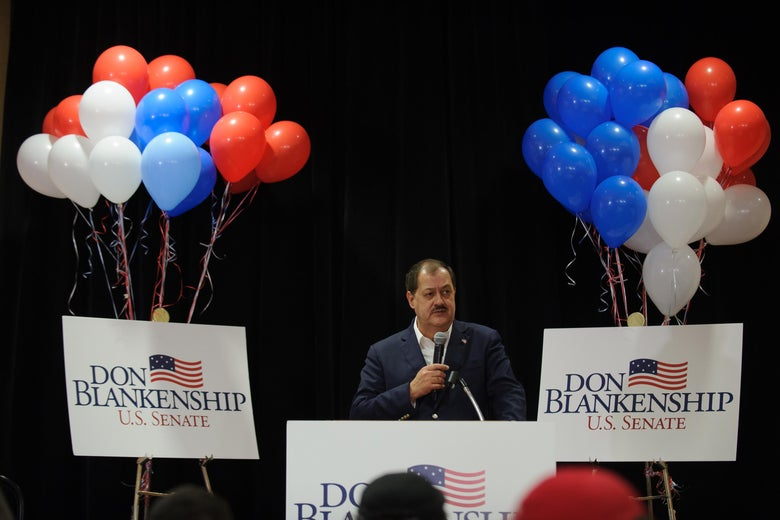 U.S. Senate Republican primary candidate Don Blankenship addresses supporters following a poor showing in the polls May 8, 2018 in Charleston, West Virginia.