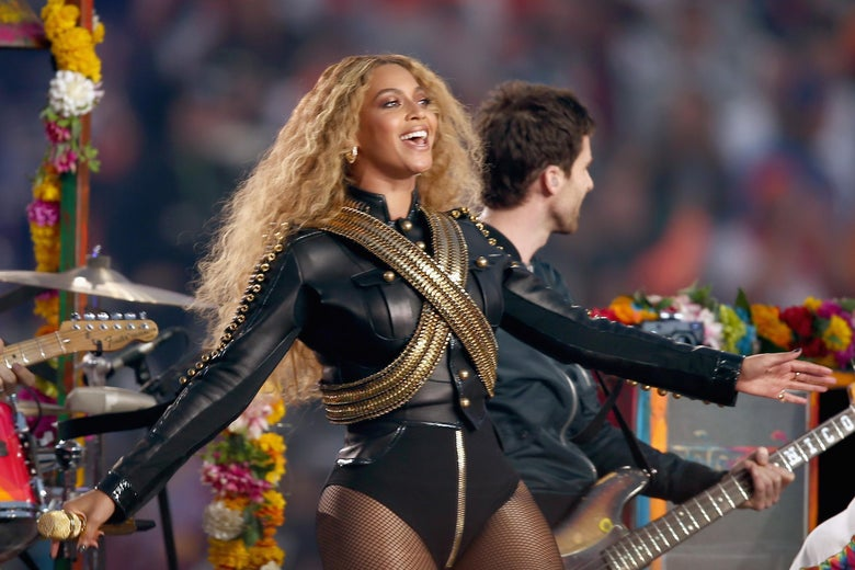 Beyonce performs onstage during the Super Bowl 50 Halftime Show on February 7, 2016 in Santa Clara, California.
