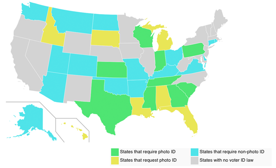 United States map of voter ID laws.