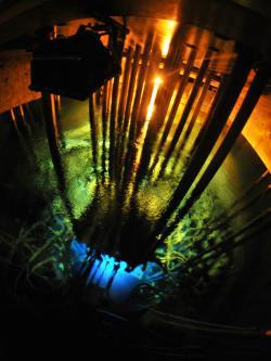 Cherenkov radiation in the Maria reactor named after Marie Curie, in Poland, June 2010