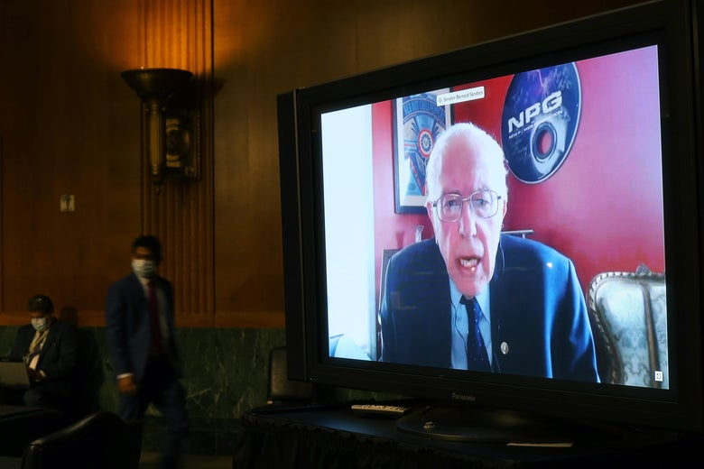 Sen. Bernie Sanders speaks remotely during the Senate Committee for Health, Education, Labor, and Pensions hearing on May 12, 2020 in Washington, DC.