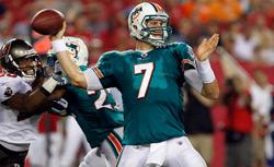 Quarterback Chad Henne #7 of the Miami Dolphins throws a pass against the Tampa Bay Buccaneers. Click image to expand.