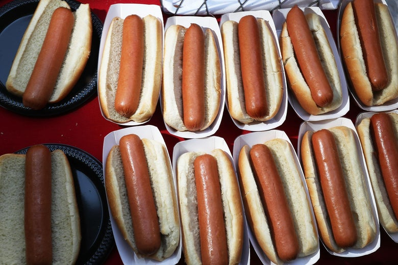 A bunch of hot dogs.