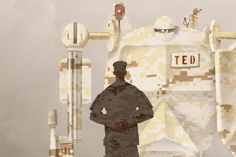 A person in camouflage stands in front of a giant camouflaged robot with a nameplate that says TED.