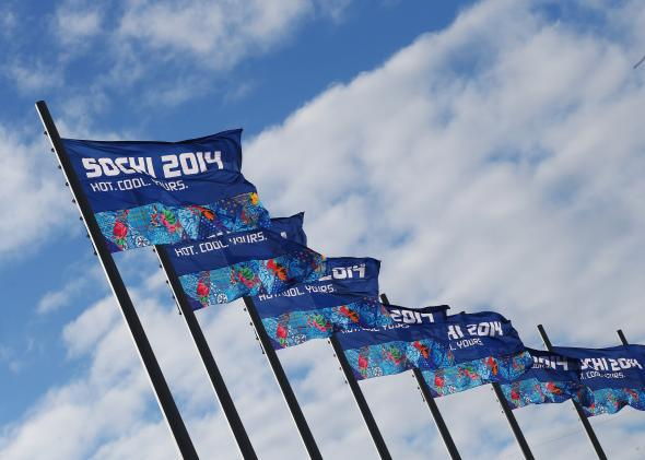 Sochi flags fly inside the Olympic Park.