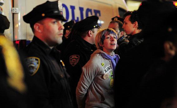 Occupy Wall Street participants are arrested after a protest in Times Square