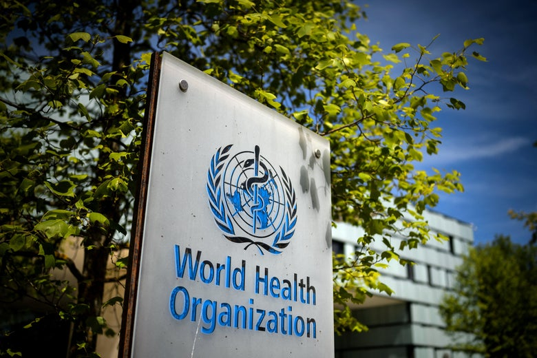 A World Health Organization (WHO) sign at the entrance of its headquarters in Geneva.