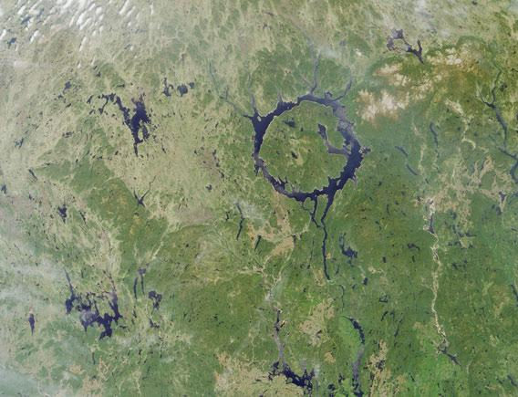 Manicouagan crater as seen by NASA's Terra satellite in 2001