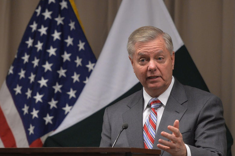 Senator Lindsey Graham holds a news conference at the U.S. embassy in Islamabad on January 20, 2019.