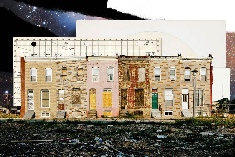 Photo illustration: Vacant houses in Baltimore with astronomical charts and photos of stars collaged behind.