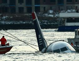 A US Airways flight crashed into the Hudson River. Click image to expand.