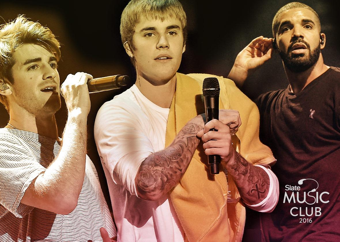 Andrew Taggart of The Chainsmokers, musician Justin Bieber, and Drake