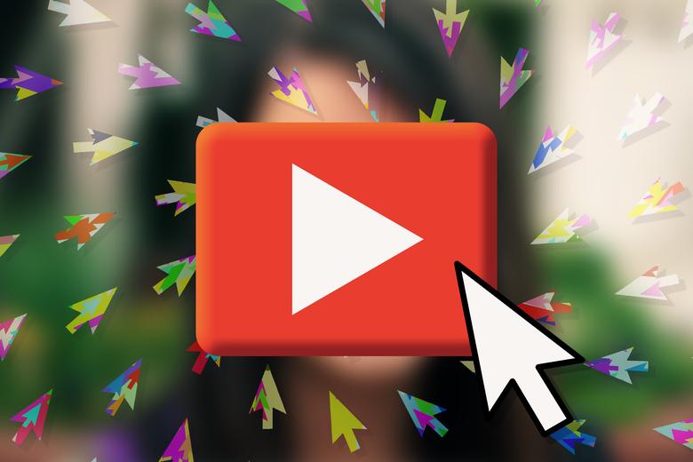 Cursor clicking on YouTube logo