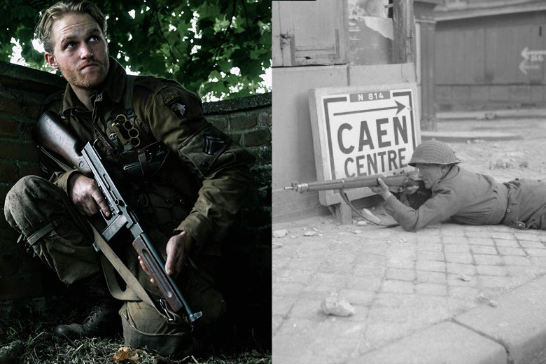 Actor Wyatt Russell takes cover behind a wall / A British sniper takes aim during the liberation of France.