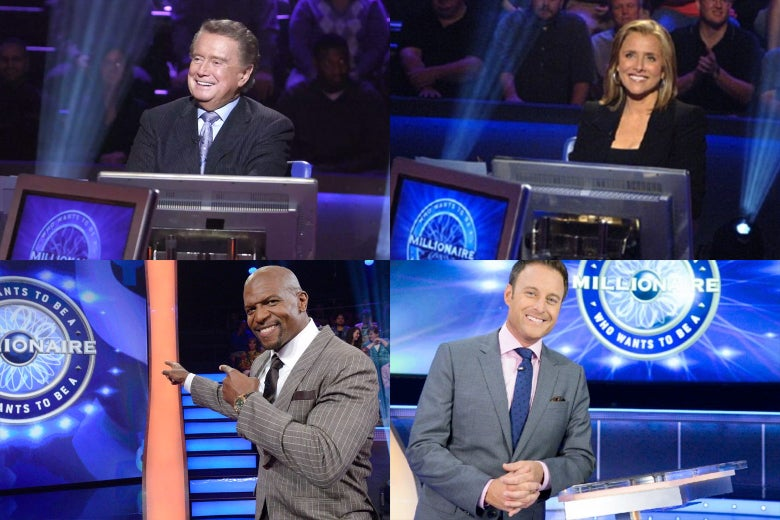 Photo collage of Regis Philbin, Meredith Vieira, Chris Harrison, and Terry Crews.