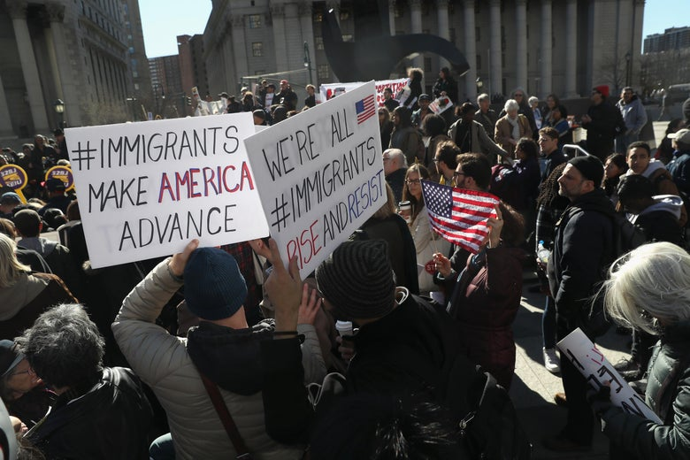 Protesters take part in a Solidarity Rally Against Deportation at Foley Square near the Immigration and Customs Enforcement (ICE), office on March 9, 2017 in New York City.