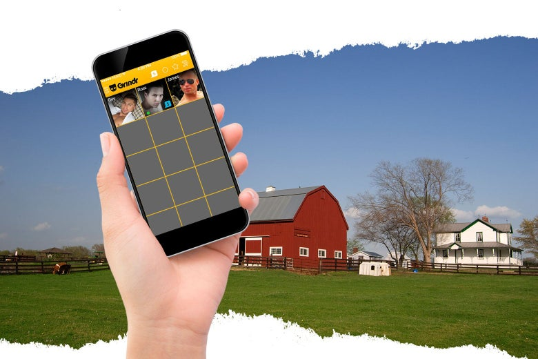 Photo illustration of a man looking at Grindr with a farm in the background.