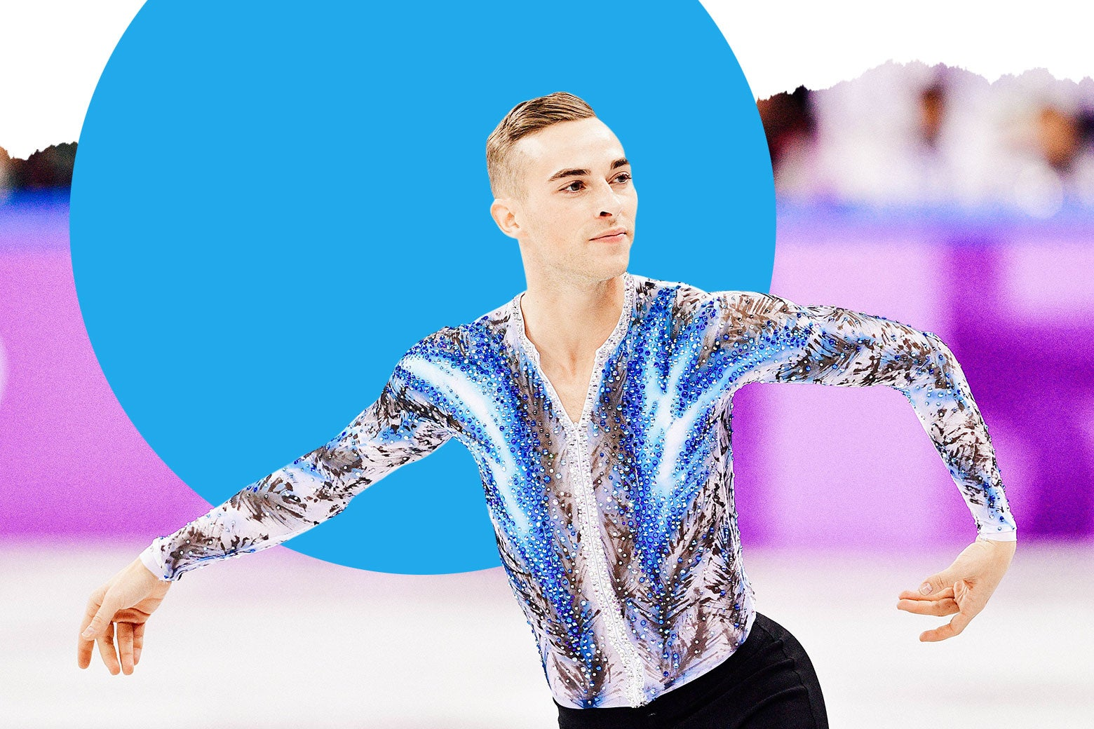 Adam Rippon skating in a blue, white, and gray glittery top.