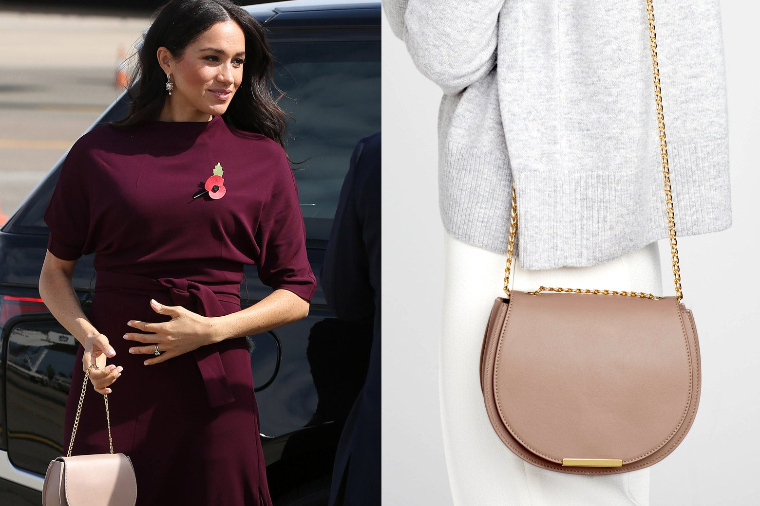 Side-by-side of Duchess of Sussex Meghan Markle, as seen holding a Cuyana saddle bag, and a Cuyana product image of the bag.