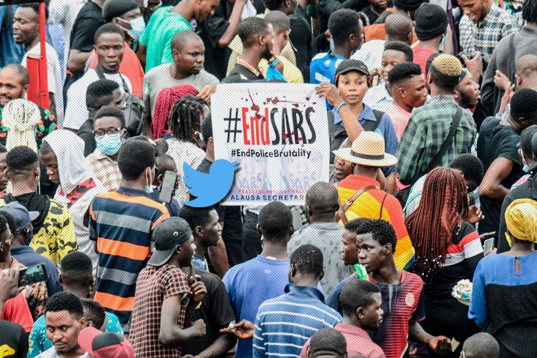 Twitter bird hovering over an #EndSARS poster amid a crowd of protesters