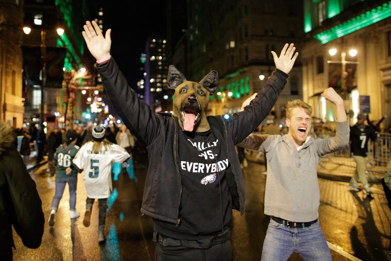 PHILADELPHIA, PA - FEBRUARY 04: Philadelphia Eagles fans celebrate victory in Super Bowl LII against the New England Patriots on February 4, 2018 in Philadelphia, Pennsylvania..(Photo by Eduardo Munoz Alvarez/Getty Images)