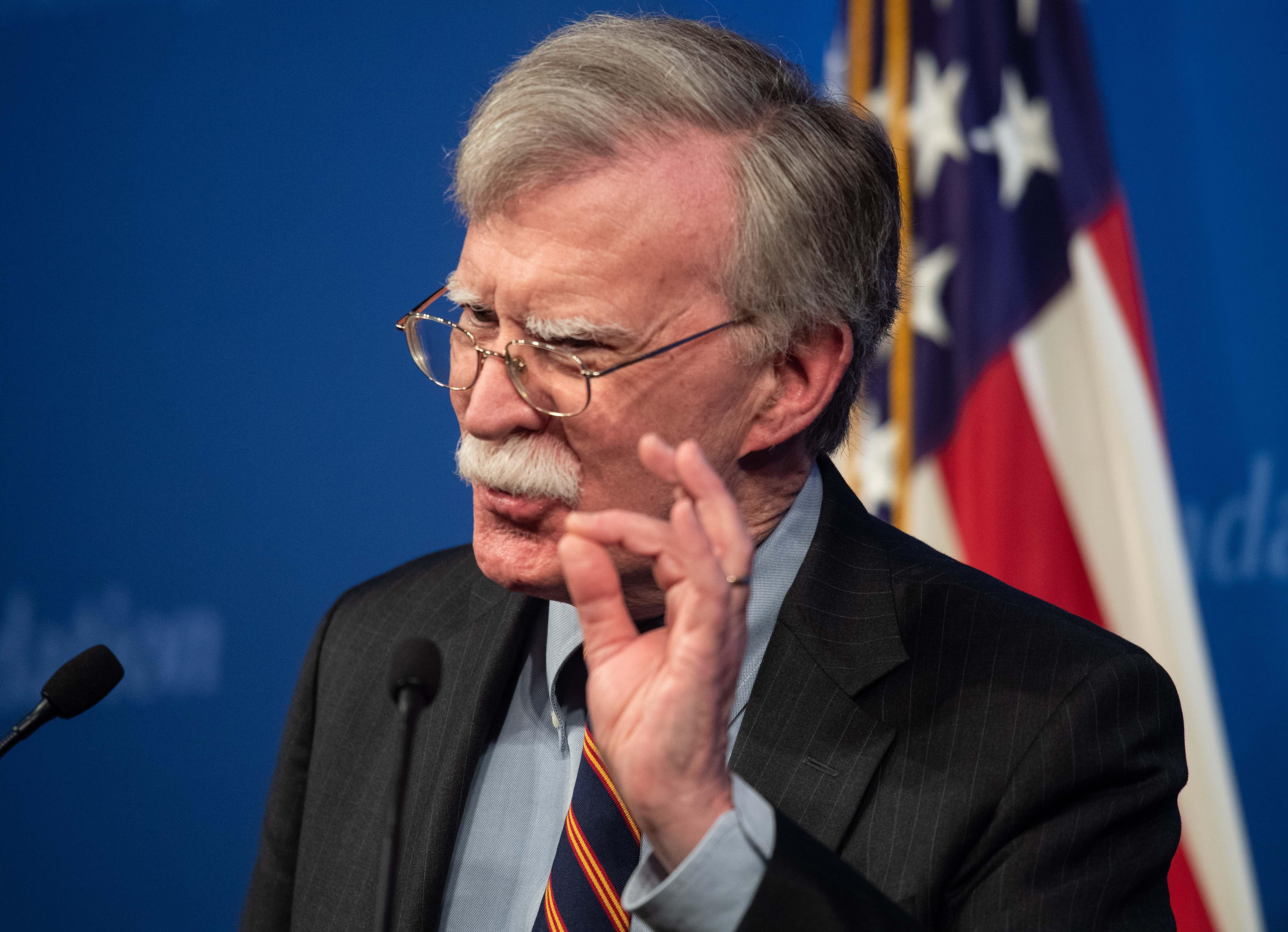 National Security Advisor John Bolton speaks at the Heritage Foundation in Washington, D.C. on December 13, 2018.